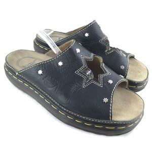 Chunky slide sandals black leather star cut out 11